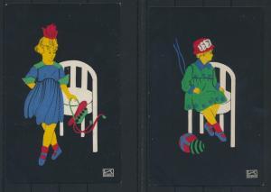 2 Künstler Ansichtskarten Scherenschnitte sign. mit K von Hilde Kallenbach