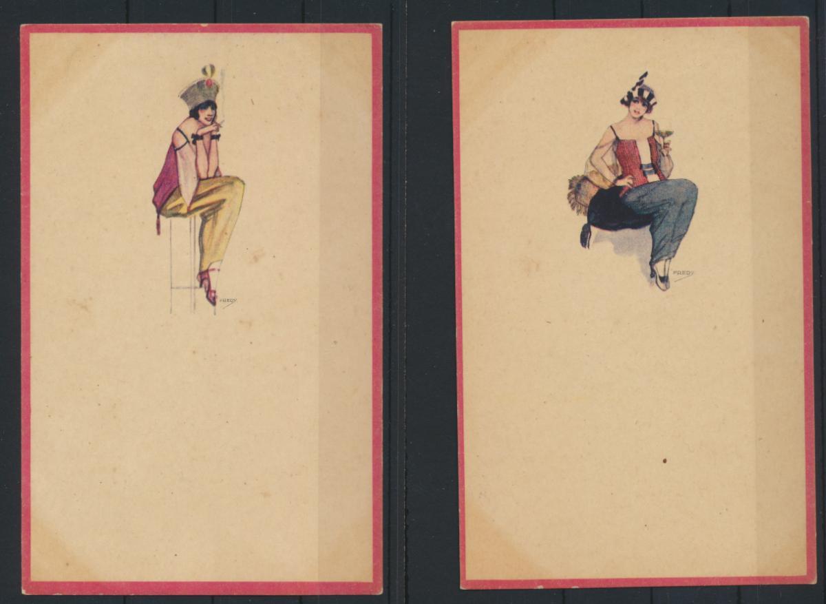 5 Künstler Ansichtskarten Jugendstil Art Nouveau Erotik Frauen sign. Fredy 0