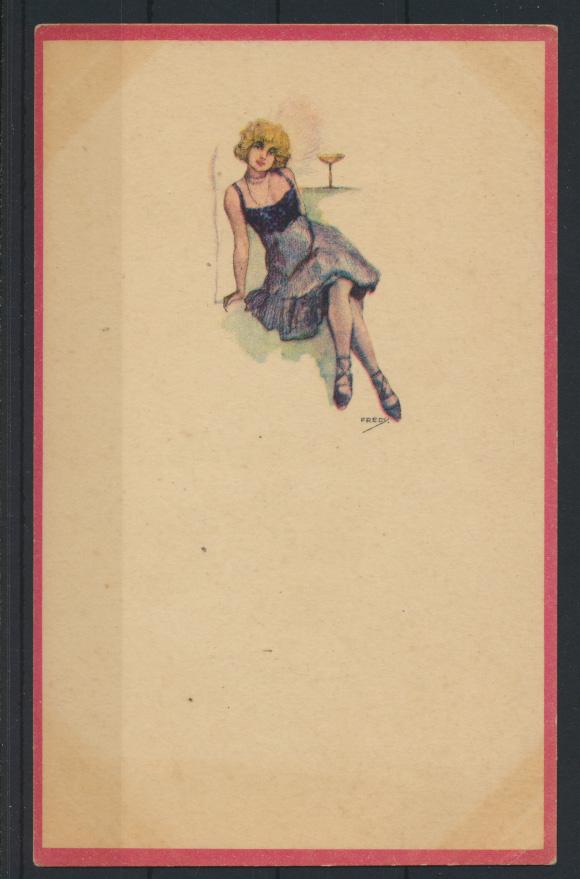 5 Künstler Ansichtskarten Jugendstil Art Nouveau Erotik Frauen sign. Fredy 2