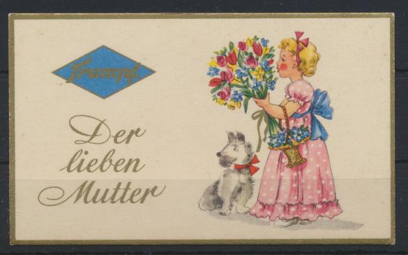 Reklame Trumpf Schokolade Kärtchen Muttertag Mädchen Hund Blumen mit Goldrand 0