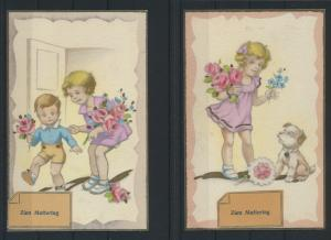 2 sehr schöne alte Ansichtskarten zu Muttertag Abb. Kinder mit Blumen und Hund