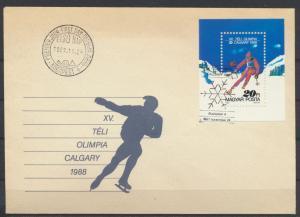 Ungarn Brief Motiv Wintersport Block und Sonderstempel Skifahren Schlittschuh-