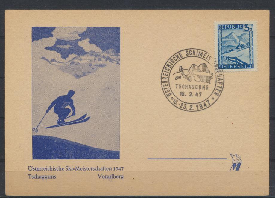 Österreich Karte Motiv Wintersport Skifahren Skimeisterschaft 1947 Schagguns 0