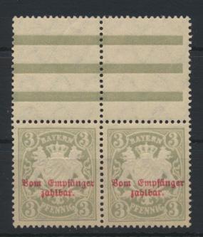 Bayern Dienstmarke 10x Paar Luxus postfrisch Oberrand hier Falzspur  0