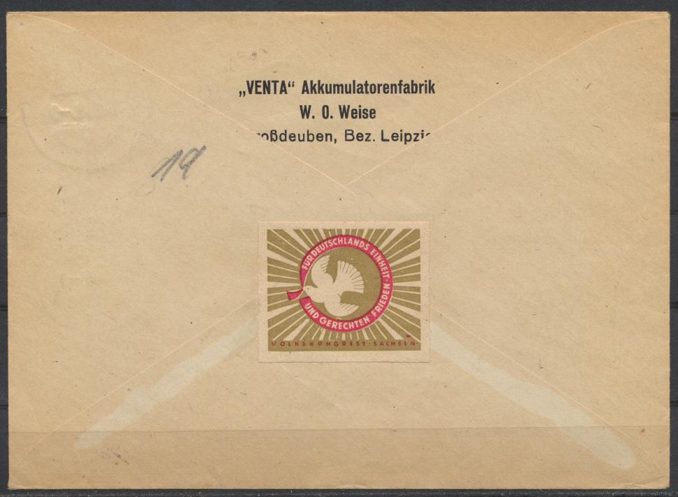 Besetzung Gemeinschaft Brief Zehnfachfrankatur Geschäftspapiere Gaschwitz vom 1