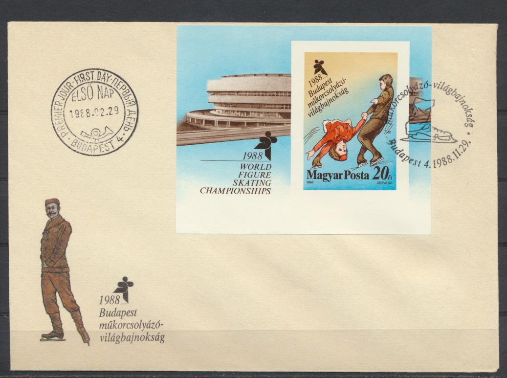 Ungarn Brief Motiv Wintersport Eislaufen mit Block Budapest 1988 0