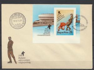 Ungarn Brief Motiv Wintersport Eislaufen mit Block Budapest 1988