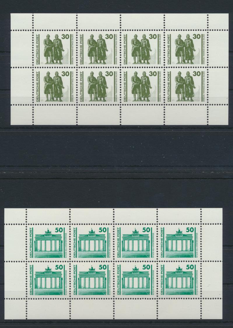 DDR Zusammendrucke Heftchenblatt HB 20+21 Bauwerke + Denkmäler Luxus postfrisch 0