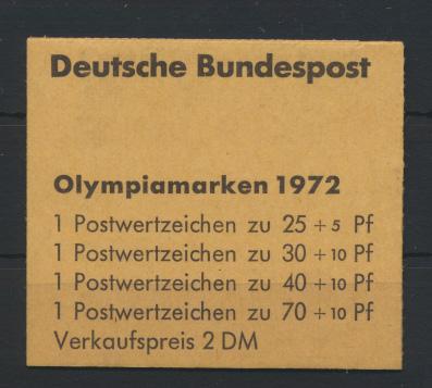 Bundesrepublik Markenheftchen 17 Olympiade 1972 postfrisch  0