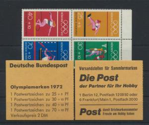 Bundesrepublik Zusammendruck Heftchenblatt HB 22 Olympiade 1972 postfrisch