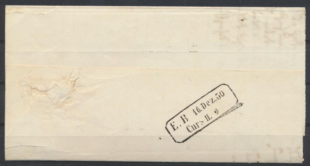 Baden Vorphila Bahnpost Curs Stempel auf Briefteil ab Carsruhe mit Sonnenscheibe 0