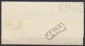 Baden Vorphila Bahnpost Curs Stempel auf Briefteil ab Carsruhe mit Sonnenscheibe
