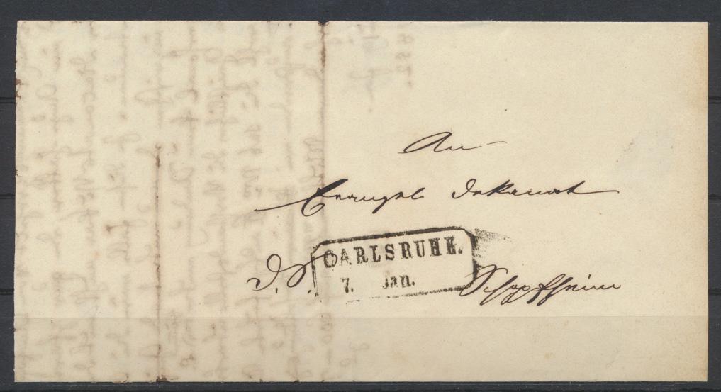 Baden Markenloser Brief Bahnpost Curs Stempel auf ab Carsruhe mit Sonnenscheibe 1