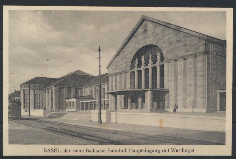 Ansichtskarte Schweiz Basel Neuer Badischer Bahnhof Haupteingang Westflügel 0
