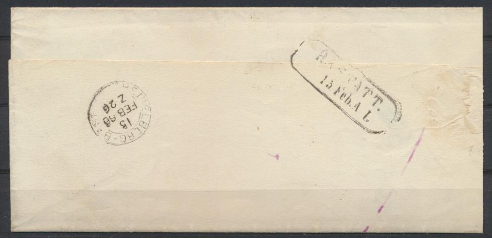 Bahnpost Brief Baden BÜHL POSTABLAGE OTTERSWEIER R2 RASTATT 15.Feb. AL + K2  1