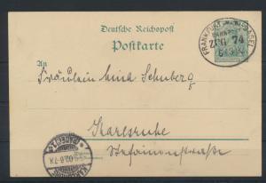 Bahnpost Deutsches Reich Ganzsache Frankfurt Basel Zug 74 5.3.1902 n. Karlsruhe
