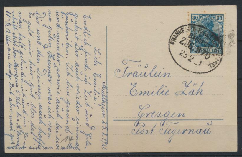 Bahnpost Deutsches Reich Postkarte Frankfurt Karlsruhe Basel Zug 976 n. Gresgen 0