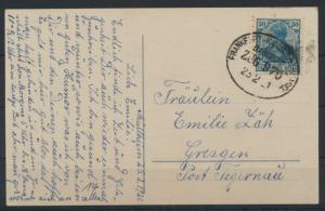 Bahnpost Deutsches Reich Postkarte Frankfurt Karlsruhe Basel Zug 976 n. Gresgen