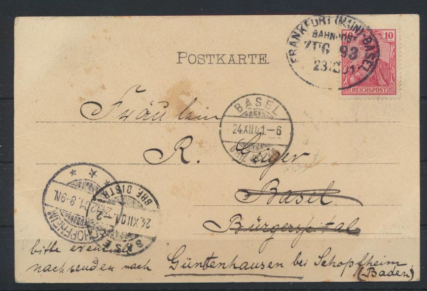 Bahnpost Deutsches Reich Postkarte Frankfurt Basel Zug 93 n. Güntzenhausen bei 0