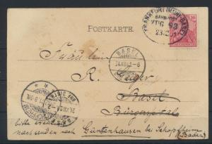 Bahnpost Deutsches Reich Postkarte Frankfurt Basel Zug 93 n. Güntzenhausen bei