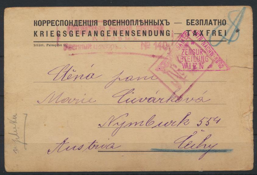 Dt. Reich Kriegsgefangenpost Pensa nach Cechy Böhmen mit 4-fach Zensur 0
