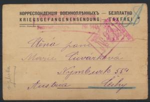 Dt. Reich Kriegsgefangenpost Pensa nach Cechy Böhmen mit 4-fach Zensur