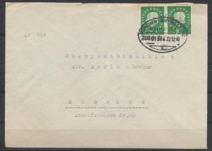 Bund Brief MEF 303 Heuss waager. Paar Bahnpost München Bayrischzell Zug 01314