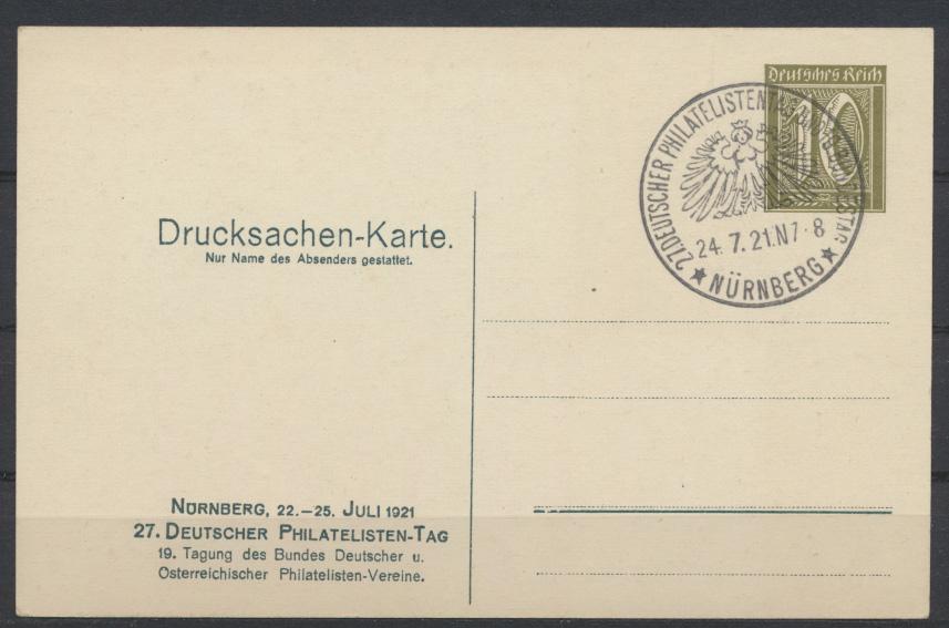 Deutsches Reich Privatganzsache PP 57 C 1 02 Nürnberg Philatelistentag + SST 1