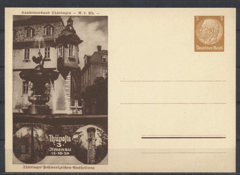 Deutsches Reich Privatganzsache PP 122 C 102 Philatelie Ilmenau Thüpost 1939 0
