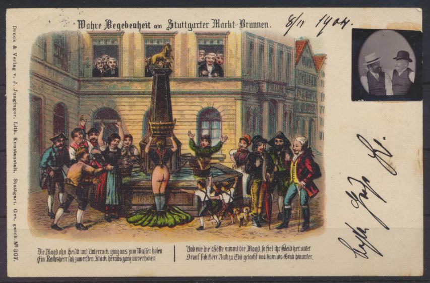 Ansichtskarte Litho Stuttgart Erotik mit aufgkelbten Bild Verlag Junginger 1904 0