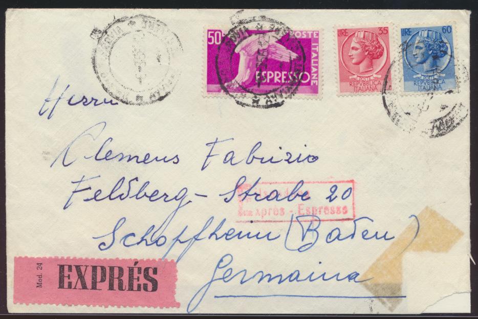 Italien Express Brief Bahnpost Basel Zell nach Schopheim 1956 0