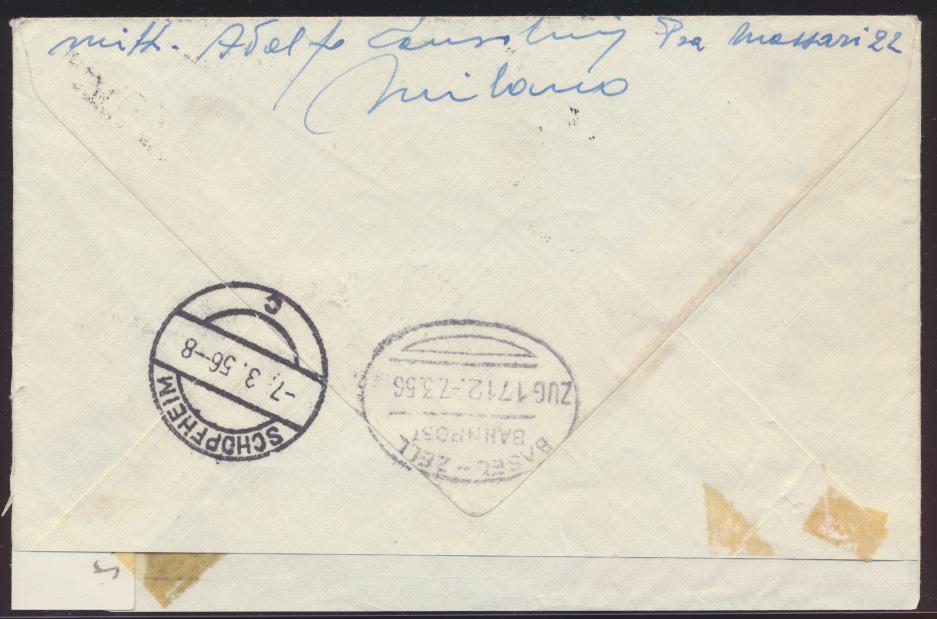 Italien Express Brief Bahnpost Basel Zell nach Schopheim 1956 1