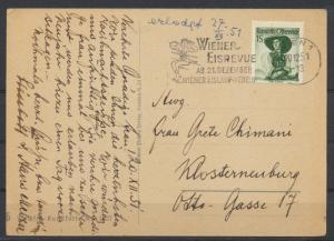 Österreich Postkarte  EF Trachten + Werbestempel Wiener Eisrevue Eislaufverein