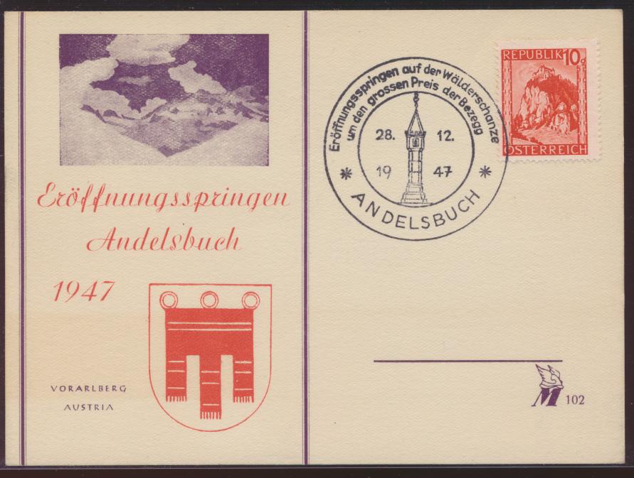 Österreich Postkarte Werbestempel Eröffnungsspringen Wintersport Andelsbuch 0