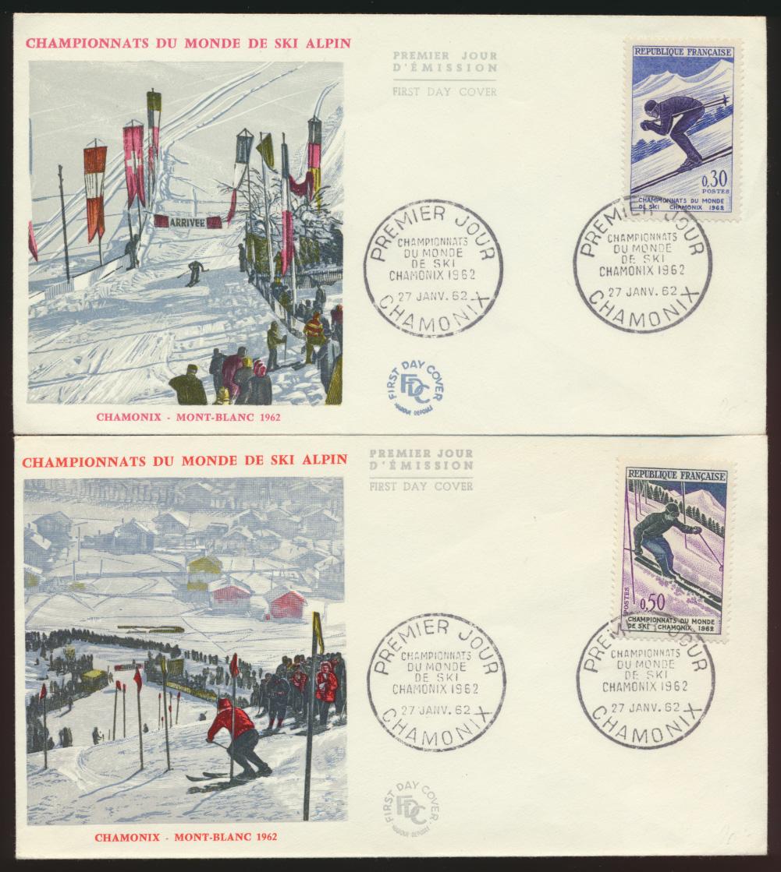 Frankreich 2 schön gestaltete Briefe Wintersport Ski Chamonix 1962  0