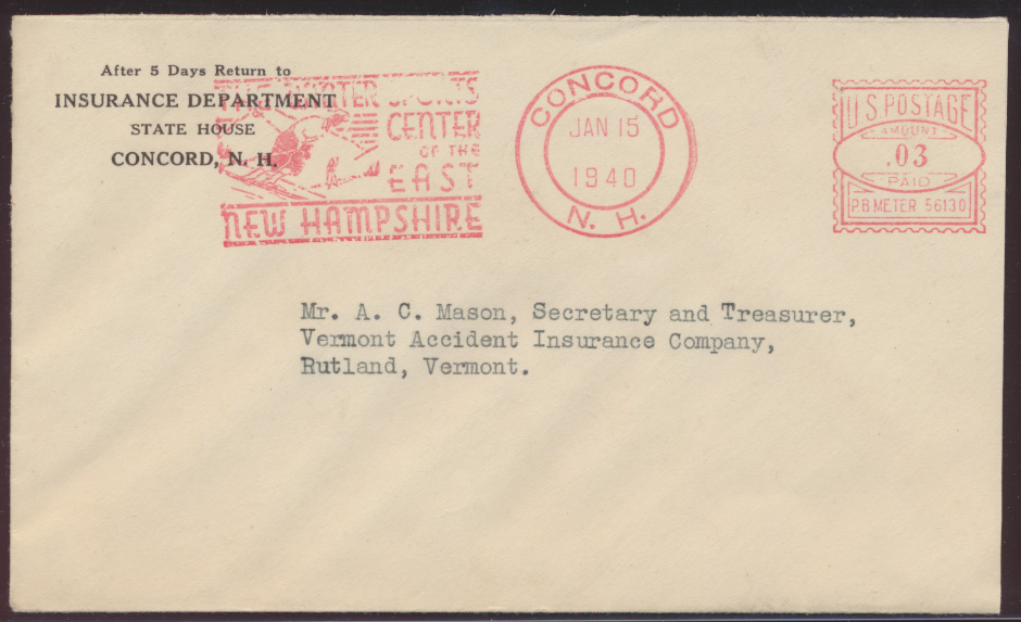 USA Brief Absenderfreistempel mit Motiv Wintersport Concord New Hampshire 1940 0