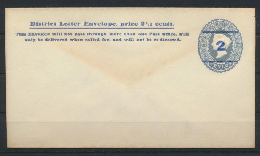Sri Lanka Ceylon Ganzsache Umschlag 28 Aushilfsausgabe Aufdruck 2 a. 5c hellblau 0