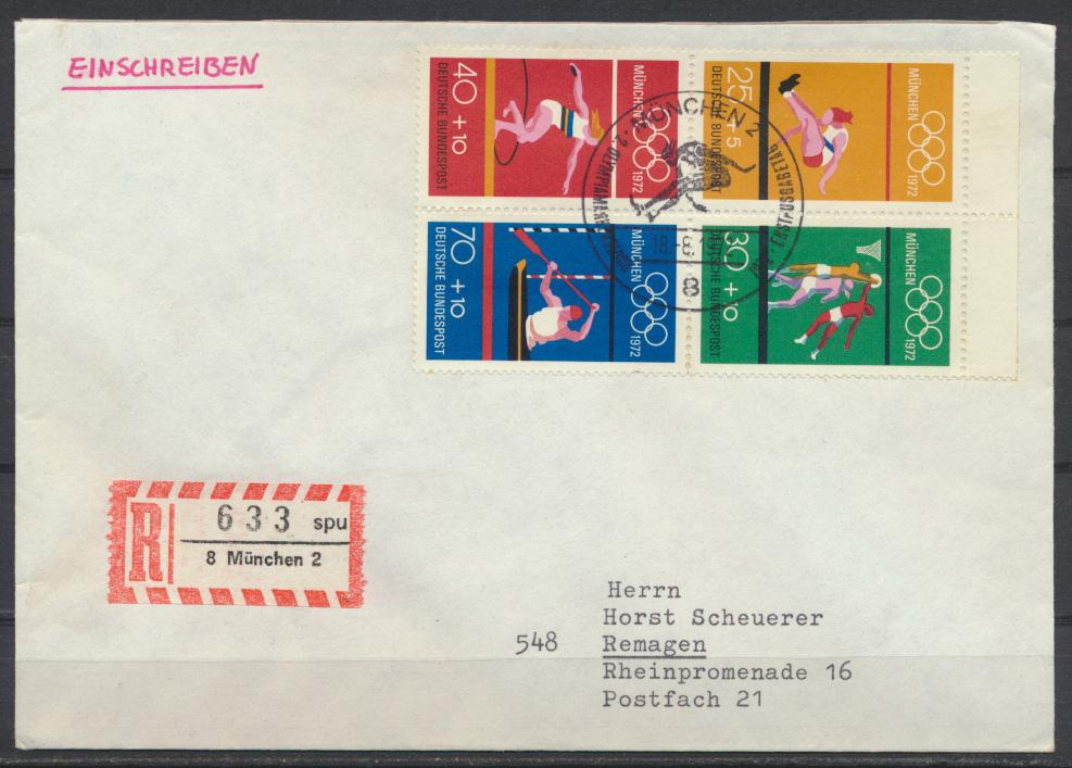 Bund Sport Olympia R Brief Heftchenblatt HB 22 als FDC München Kat.-Wert 50,00 0