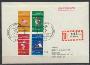 Bund Sport Olympia R Brief Heftchenblatt HB 22 als FDC Bonn Kat.-Wert 50,00