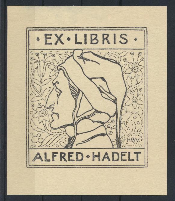 Ex Libris Künstler Heinrich Vogeler Alfred Hadelt Rie 122 Buchdruck Strichätzung 0