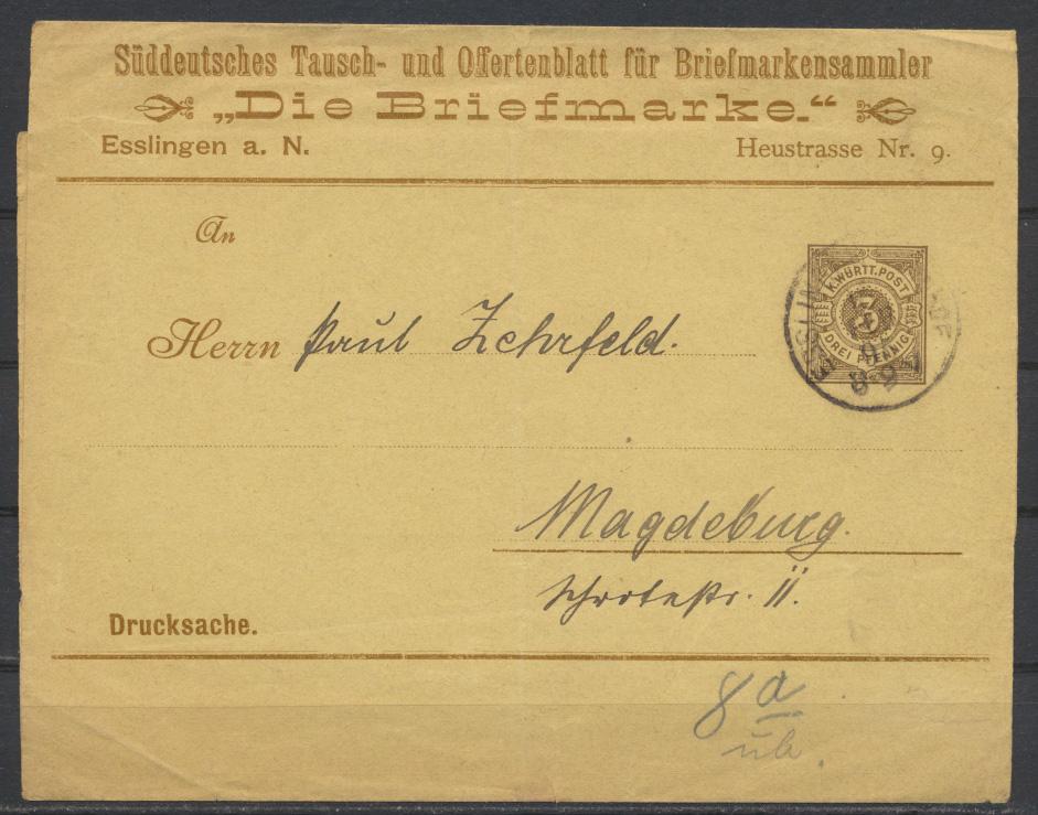 Württemberg Privatganzsache PS 2 Streifband Umschlag Briefmarkensamml Esslingen  0
