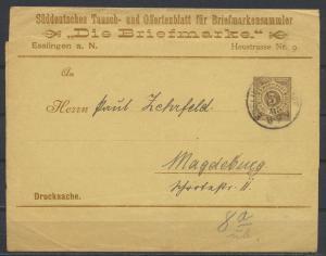 Württemberg Privatganzsache PS 2 Streifband Umschlag Briefmarkensamml Esslingen
