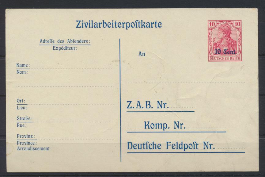 Besetzung 1914-18 Ganzsache Etappengebiet West Zivilarbeiterpostkarte P 9 Kat.26 0