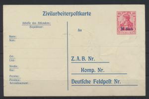 Besetzung 1914-18 Ganzsache Etappengebiet West Zivilarbeiterpostkarte P 9 Kat.26