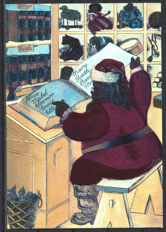 Ansichtskarte Weihnachten Weihnachtsmann Nikolaus Spielsachen Oberfläche  0