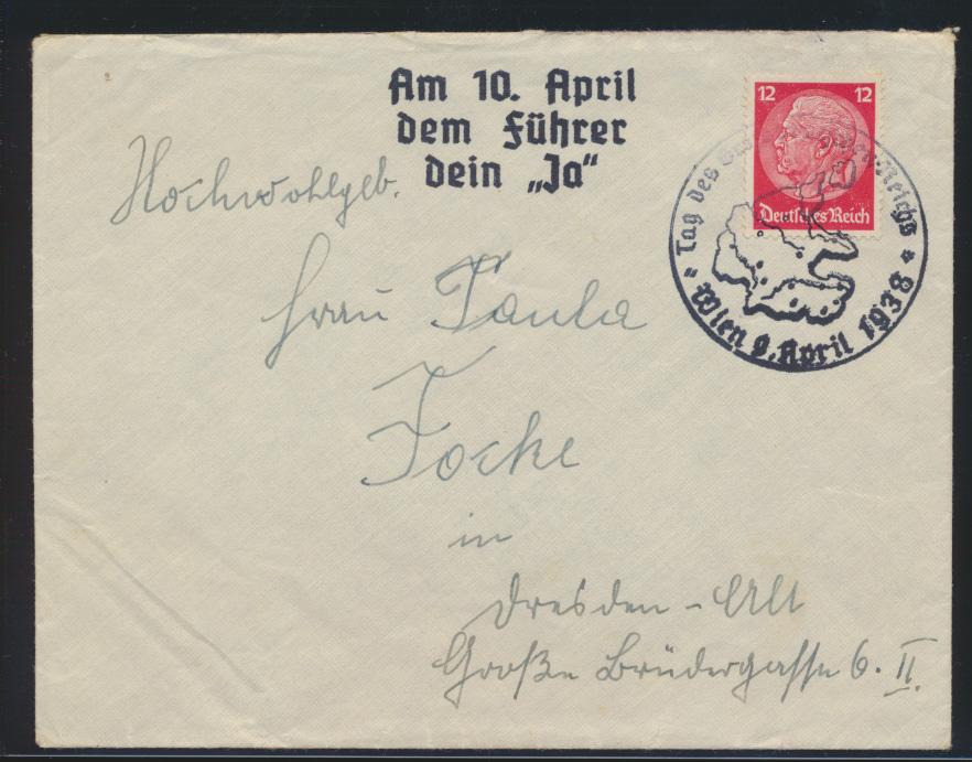 Deutsche Reich II. WK 3. Reich Propaganda mit SST Wien Österreich auf Hindenburg 0