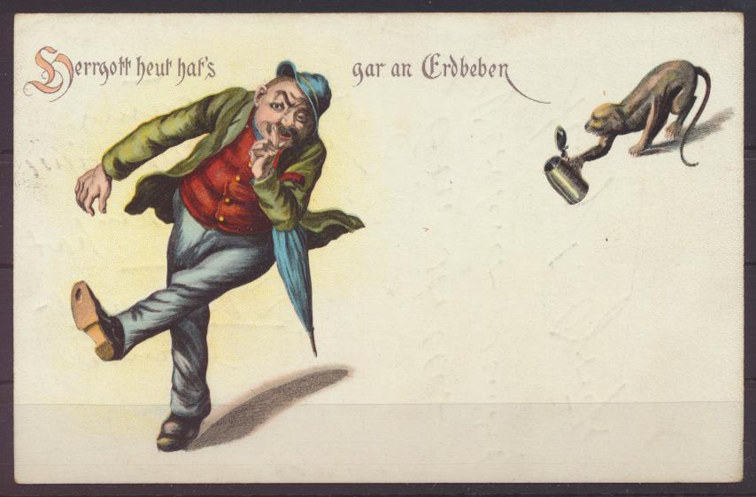 Litho Ansichtskarte Künstlerkarte Herrgott heut hats gar an Erdbeben Affe Bier- 0