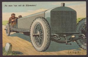 Ansichtskarte Art Deco Künstlerkarte sign. Auto Nu man ran mit de Kilometers