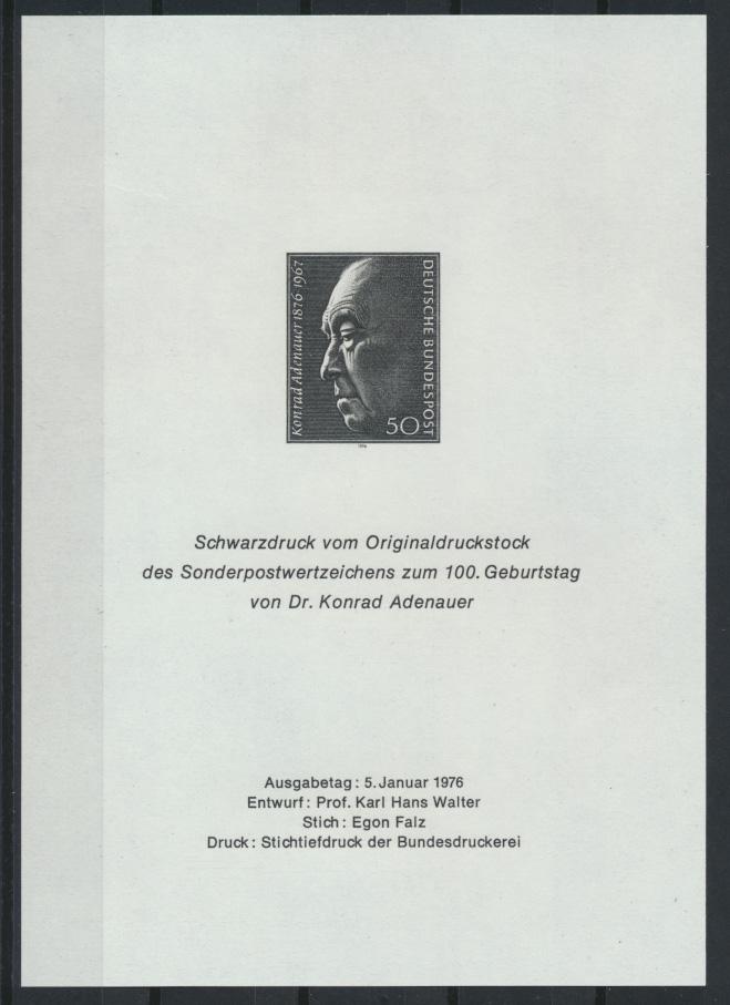 Bundesrepublik Adenauer Schwarzdruck 1976 Politik Bundeskanzler 0