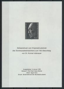 Bundesrepublik Adenauer Schwarzdruck 1976 Politik Bundeskanzler